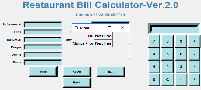 Restaurant Bill Calculator Project In PYTHON with Source Code