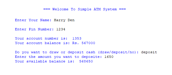 Simple ATM System Project in PYTHON with Source Code