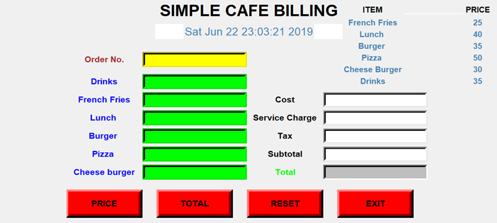 Simple Cafe Billing System Project In PYTHON With Source Code