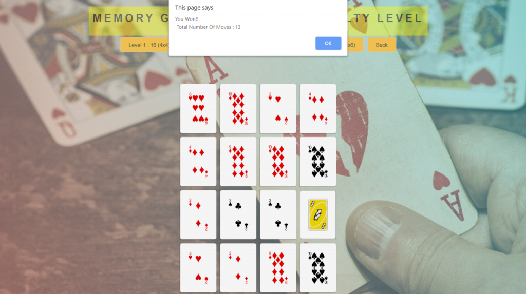 Card Memory Game in JavaScript Source Code