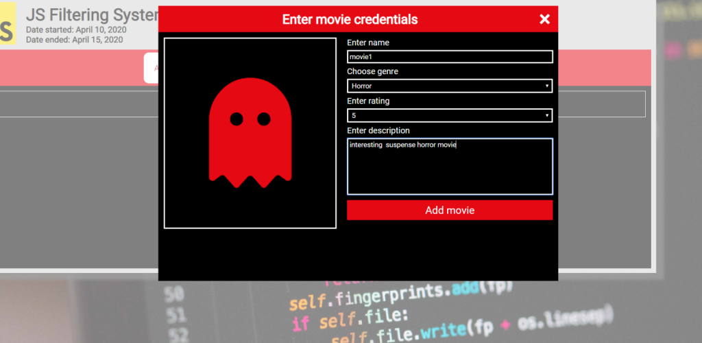 Movie Management System In JavaScript Source Code