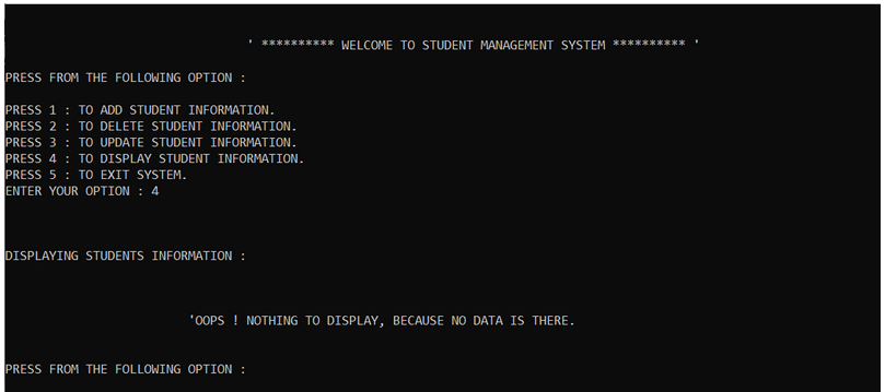 Student  Management System project i in Python